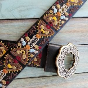 Lucky Brand Leather Embroidered Belt